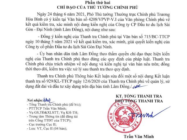 Ông Trần Văn Minh - Phó Tổng Thanh tra Chính phủ ký văn bản sửa đổi một số nội dung Kết luận thanh tra 929/KL-TTCP về việc quản lý, sử dụng đất đai và đầu tư xây dựng trên địa bàn tỉnh Lâm Đồng.