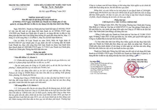 Quyết định sửa đổi Kết luận Thanh tra về việc thu hồi một số dự án trên địa bàn tỉnh Lâm Đồng. Nguồn: Thanh tra Chính Phủ.