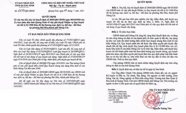 Quyết định thu hồi dự án gần 400ha tại TP Móng Cái của UBND tỉnh Quảng Ninh.