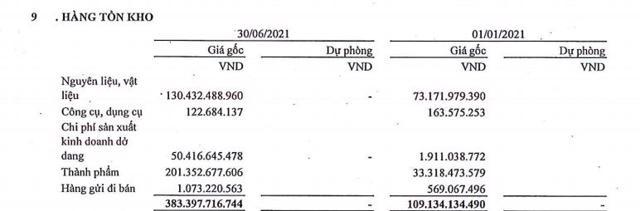 Hàng tồn kho tại TDS tăng theo cấp số lần (Nguồn: BCTC quý 2/2021)