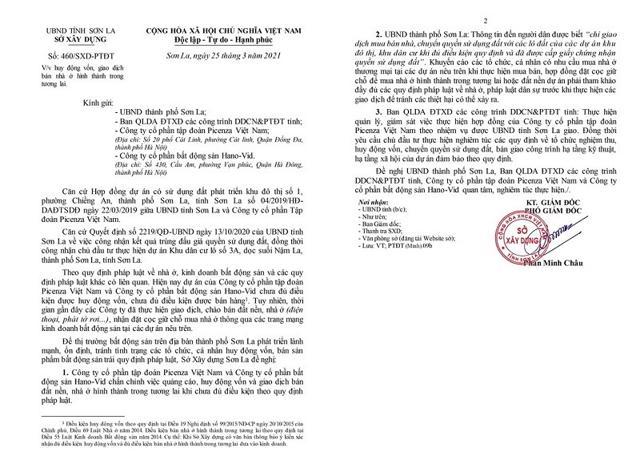 Văn bản số 460/SXD-PTĐT về việc huy động vốn, giao dịch bán nhà ở hình thành trong tương lai. (Nguồn: Sở Xây dựng tỉnh Sơn La).