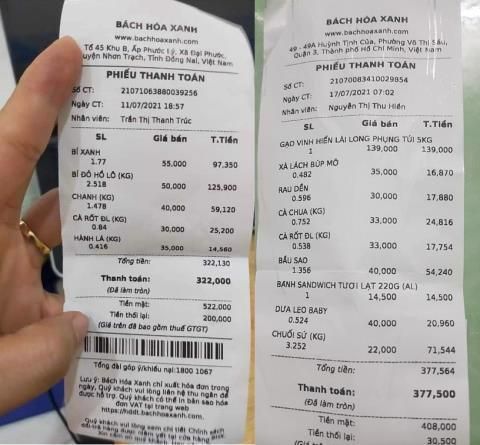 Hai tờ hóa đơn mua hàng tại BHX được nhiều người chia sẻ