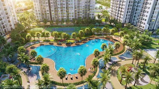 Bể bơi ngoài trời rộng hơn 1.000m2 với những hàng cọ Mỹ, chà là rủ bóng mát ngay trong nội khu The Miami