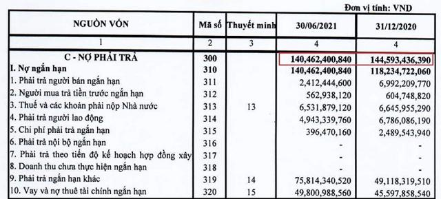 Nguồn: Báo cáo tài chính quý 2/2021 của RIC.