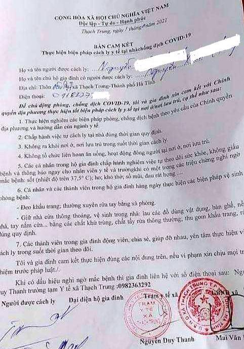 Bản cam kết thực hiện cách ly của 2 vợ chồng Chủ tịch Phúc Đạt Group có chữ ký, đóng dấu của chính quyền địa phương