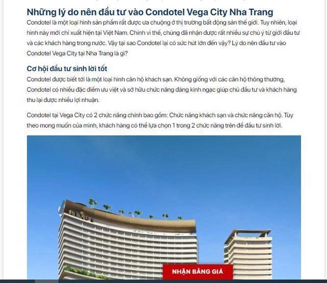 Các thông tin quảng cáo, rao bán condotel Vega City Nha Trang.