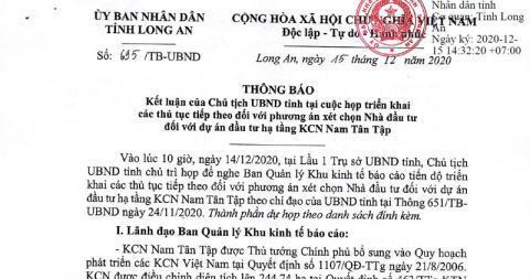 Quyết định của UBND tỉnh Long An với dự án KCN Nam Tân Tập được đánh giá là đúng luật.