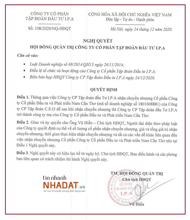 Quyết định nhận chuyển nhượng cổ phần của IPA tại Nam Cần Thơ (Nguồn: IPA).