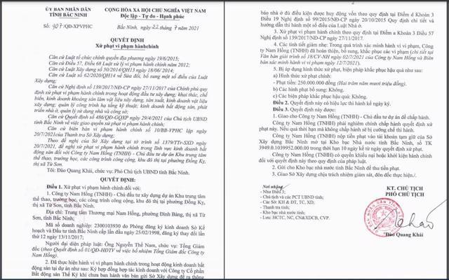 Quyết định xử phạt của UBND tỉnh Bắc Ninh