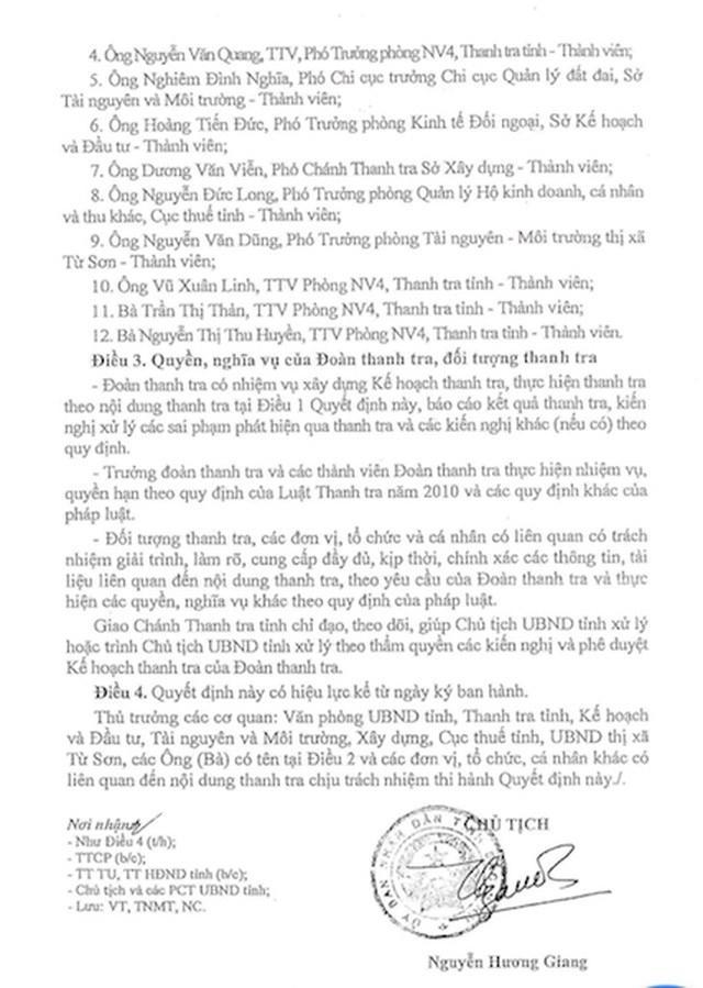 Quyết định của UBND tỉnh Bắc Ninh về việcThanh tra toàn diện dự án KĐT Vườn Sen.