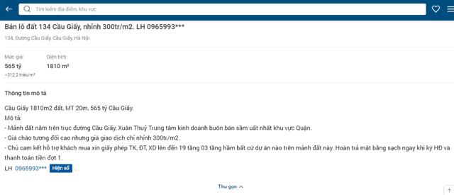 Thông tin được rao bán đất công khai tại sàn giao dịch batdongsan.com.vn khi chưa được sự đồng ý của gia đình ông Lê Thanh Sơn (Ảnh chụp màn hình)