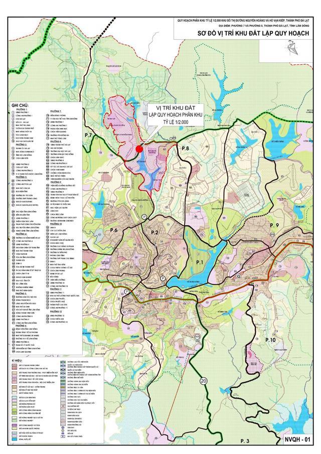 Sơ đồ vị trí khu đất lập quy hoạch phân khu tỷ lệ 1/2000 của Khu đô thị đường Nguyễn Hoàng và hồ Vạn Kiếp (Ảnh: Sở Xây dựng tỉnh Lâm Đồng).