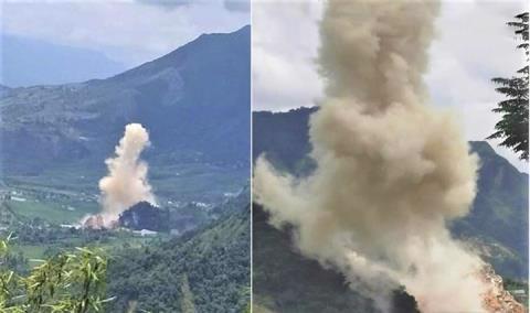 Hiện trường vụ nổ tại huyện Tân Uyên. Ảnh: VTC News