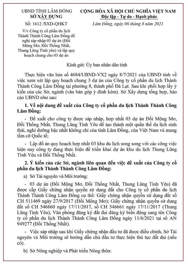 Văn bản đề xuất với UBND tỉnh Lâm Đồng về việc thống nhất chủ trương cho sáp nhập 3 dự án của Công ty Cổ phần du lịch Thành Thành Công Lâm Đồng (Nguồn: Sở Xây dựng tỉnh Lâm Đồng).