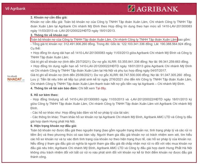 Thông báo rao bán khoản nợ của Tập đoàn Xuân Lãm từ phía Agribank.