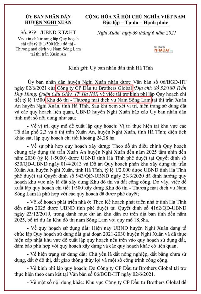 Văn bản được UBND huyện Nghi Xuân gửi UBND tỉnh Hà Tĩnh liên quan đến đề xuất của Công ty CP Đầu tư Brothers Global.