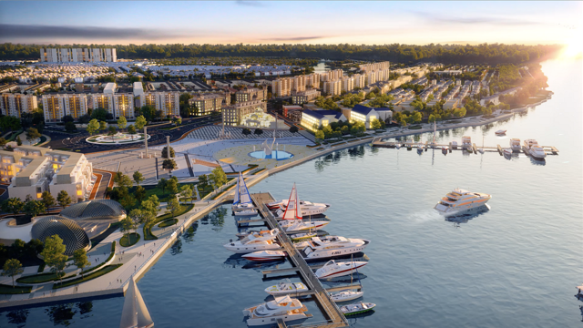 Tận dụng lợi thế sông nước bao quanh, Novaland phát triển Tổ hợp quảng trường – bến du thuyền Aqua Marina tại dự án đô thị sinh thái thông minh Aqua City