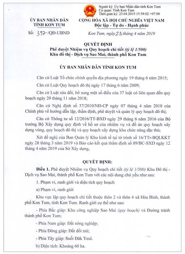 Quyết định phê duyệt Nhiệm vụ Quy hoạch chi tiết 1/500 KĐT Dịch vụ Sao Mai (Nguồn: UBND tỉnh Kon Tum).