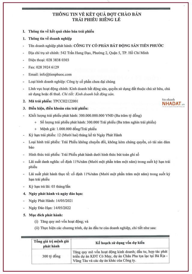 Thông tin về đợt chào bán trái phiếu riêng lẻ của Tiến Phước.
