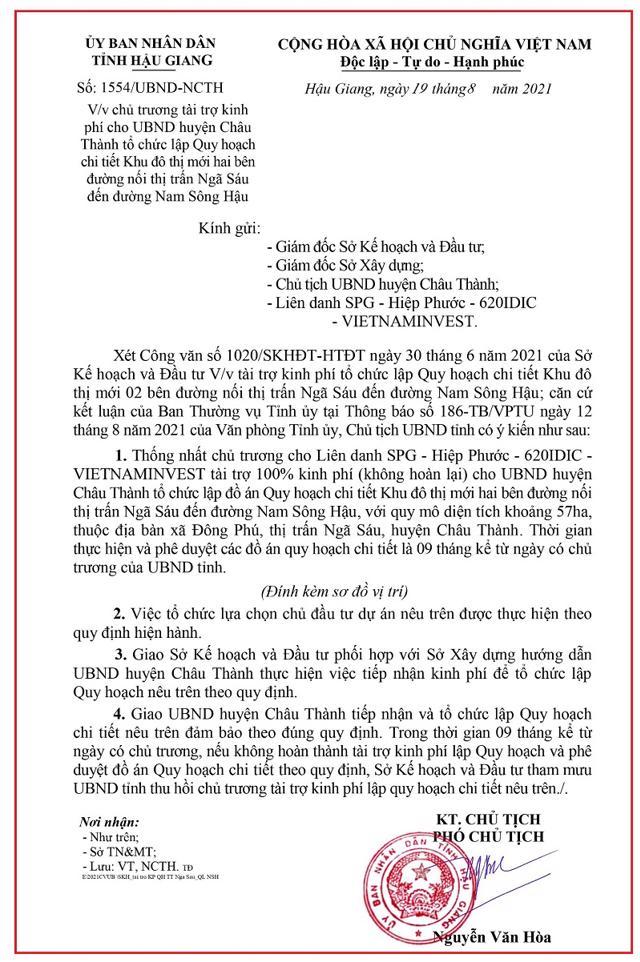 Văn bản thống nhất cho liên danh SPG- Hiệp Phước – 620IDIC – VIETNAMINVES tài trợ kinh phí làm KĐT hai bên đường nối thị trấn Ngã Sáu đến đường Nam Sông Hậu.