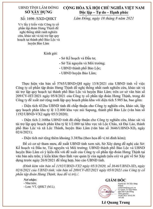 Văn bản lấy ý kiến về việc Hưng Thịnh đề nghị thống nhất ranh nghiên cứu, khảo sát và tài trợ lập quy hoạch tại thành phố Bảo Lộc và huyện Bảo Lâm.