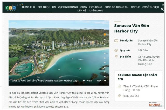 Dự án Sonasea Vân Đồn Harbor City được giới thiệu trên trang chủ của Tập đoàn CEO Group.