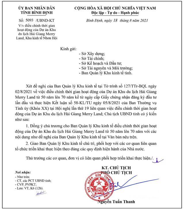 Văn bản đồng ý chủ trương điều chỉnh thời gian hoạt động của dự án khu du lịch Hải Giang Merry Land từ 50 năm lên 70 năm (Nguồn: UBND tỉnh Bình Định).