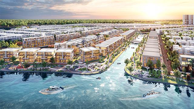 Tại biệt thự song lập đảo Phượng Hoàng, gia chủ luôn được đắm mình trong không gian thiên nhiên, sông nước xanh mát.