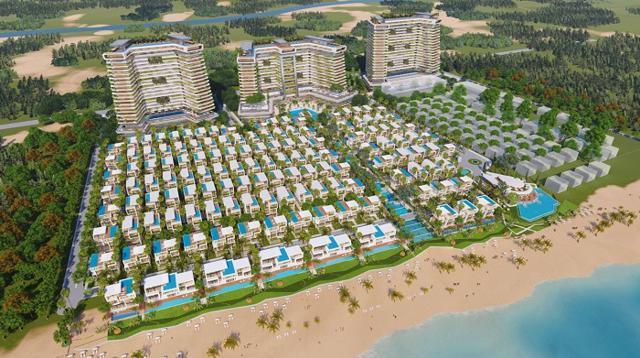 Phối cảnh 1 tổ hợp biệt thự và khách sạn 5 sao nằm trên cung đường biển tỷ đô, hứa hẹn sẽ trở thành biểu tượng du lịch của Đà Nẵng