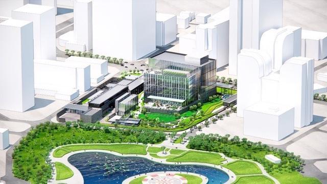 Phác hoạ thiết kế khu phức hợp Đại sứ quán Mỹ mới tại Hà Nội.