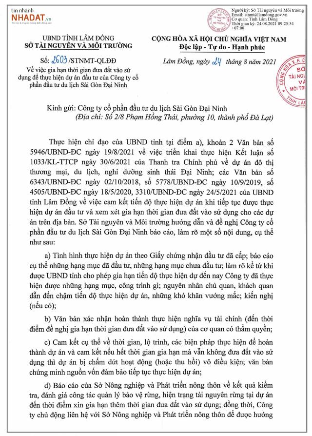Văn bản việc gia hạn đưa đất vào sử dụng để thực hiện dự án KĐT Sài Gòn Đại Ninh của Sở Tài nguyên và Môi trường tỉnh Lâm Đồng.