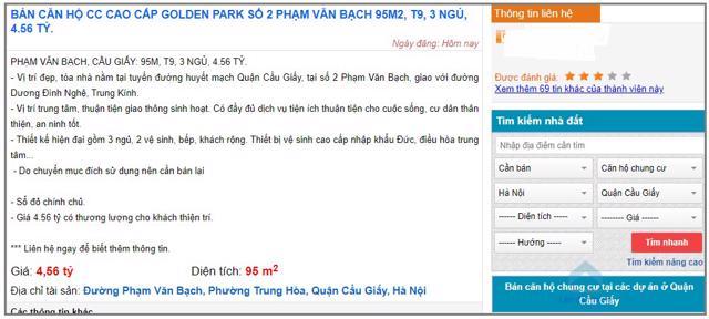 Một căn hộ có diện tích 95m2 tại dự án Golden Park ở số 2 đường Phạm Văn Bạch đang được rao bán trên một trang nhà đất uy tín với giá 4,56 tỷ.