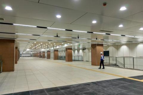 Hầm B1 nhà ga Nhà hát Thành phố của tuyến metro số 1 TPHCM. Ảnh: Lao động