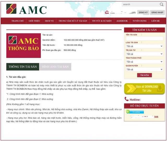 Agribank AMC thông báo đấu giá tài sản của TH BONBON.