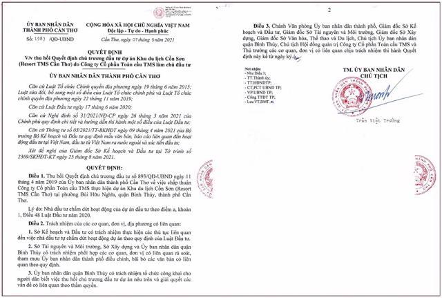 Quyết định thu hồi Quyết định chủ trương đầu tư dự án Khu du lịch Cồn Sơn của TMS Group.