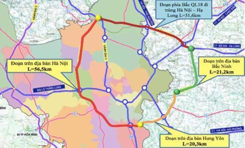 Hướng tuyến đường Vành đai 4 đi qua các tỉnh và thành phố Hà Nội.