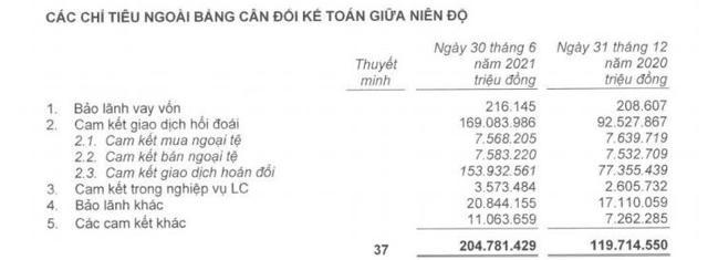 Nguồn:BCTC quý 2/2021 đã soát xét.