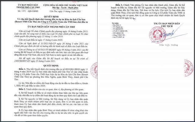 Quyết định thu hồi Quyết định chủ trương đầu tưdự án Khu du lịch Cồn Sơn.