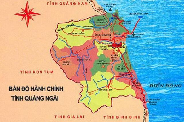 Vị trí tỉnh Quảng Ngãi.