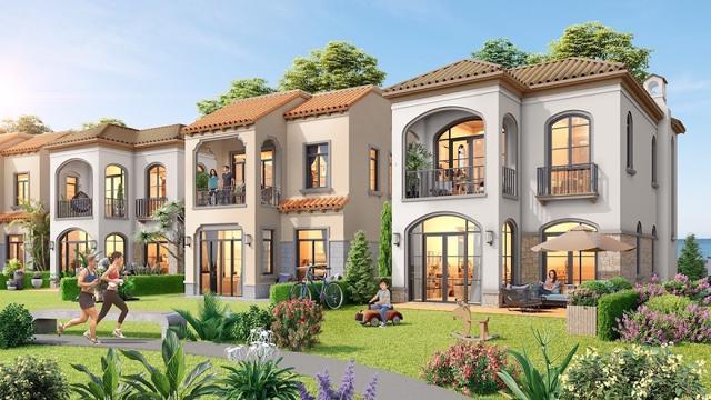 Phối cảnh những căn biệt thự với kiến trúc tinh tế theo phong cách Địa Trung Hải, lấy thiên nhiên làm trọng tâm của biệt thự đồi giáp biển The Tropicana