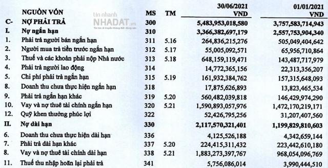 Nợ phải trả của Hải Phát tại ngày 30/6 là 5.484 tỷ đồng.