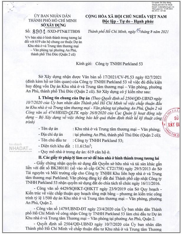 Văn bản số 8904/SXD-PTN&TTBĐS về việc bán nhà ở hình thành trong tương lai đối với 619 căn hộ thuộc dự án Khu nhà ở và trung tâm thương mại – văn phòng (phường An Phú, TP Thủ Đức) do Parkland 53 làm chủ đầu tư (Nguồn: Sở Xây dựng TP Hồ Chí Minh)