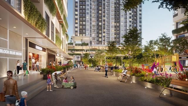 Cư dân Moonlight Centre Point có thể tiếp cận rất nhiều tiện ích nội khu như shophouse, khu vui chơi trẻ em, công viên nội khu… Ảnh: Hưng Thịnh Land