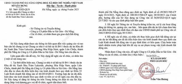 Văn bản của Sở Xây dựng TP Đà Nẵng.