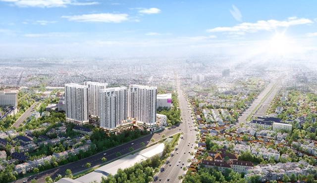 Phối cảnh dự án Moonlight Centre Point toạ lạc trên đường Tên Lửa (lộ giới 40m), quận Bình Tân vừa được giới thiệu ra thị trường. Ảnh: Hưng Thịnh Land