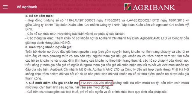 Agribank thông báo đấu giá khoản nợ lần 1 của Tập đoàn Xuân Lãm.