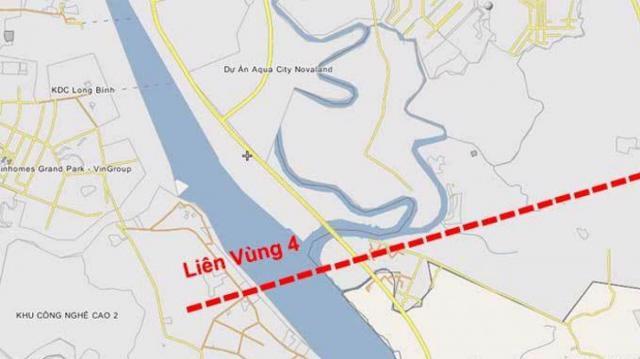 Tuyến liên vùng 4 theo qui hoạch sẽ xây dựng một cầu bắc qua sông Đồng Nai để kết nối giao thông từ với TP Thủ Đức về Đồng Nai