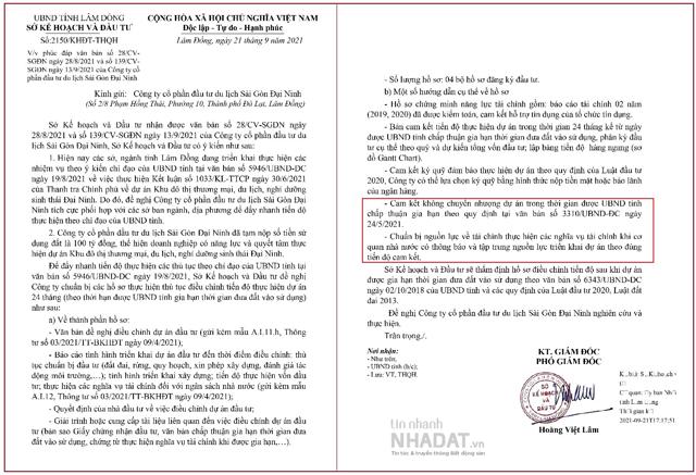 Văn bản yêu cầu Sài Gòn – Đại Ninh chuẩn bị vốn và cam kết không chuyển nhượng dự án (Nguồn: Sở Kế hoạch – Đầu tư tỉnh Lâm Đồng).