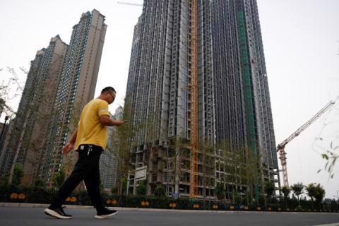 Một dự án cao ốc chưa hoàn thành của Tập đoàn China Evergrande tại thành phố Lạc Dương, Hà Nam, Trung Quốc. Ảnh: Reuters