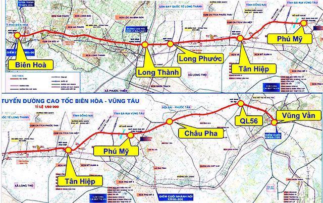 Sơ đồ đường cao tốc Biên Hòa – Vũng Tàu (đường màu đỏ).